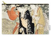 Three Girls Paddling In A River Carry-all Pouch by Kitagawa Utamaro