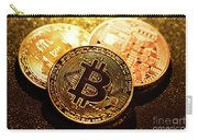 Three Golden Bitcoin Coins On Black Background. Carry-all Pouch