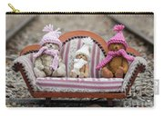 Three Little Teddy Bear Sit In A Sofa In The Middle Of The Winter Forest Carry-all Pouch