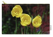 Three Pretty Blooming Yellow Tulips In A Garden Carry-all Pouch