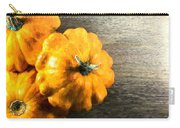 Three Pumpkins On Wood Carry-all Pouch