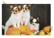 three puppy with pumpkin by Iuliia Malivanchuk Carry-all Pouch