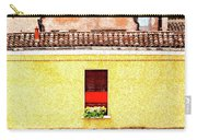 Three Red Windows With Flowers Of A Typically Italian House. Carry-all Pouch