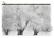 Three Snow Frosted Trees In Black And White Carry-all Pouch