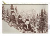 Three Tobogganers On A Snowy Hill Carry-all Pouch