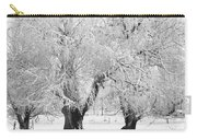 Three Trees In The Snow - Bw Fine Art Photography Print Carry-all Pouch