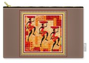 Three Tribal Dancers L A With Decorative Ornate Printed Frame. Carry-all Pouch
