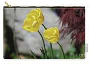 Three Yellow Garden Tulips Flowering In Spring Carry-all Pouch