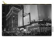 Times Square Subway Stop At Night New York Ny Black And White Carry-all Pouch