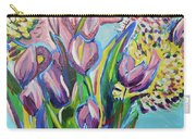 Pink Floral On Blue Carry-all Pouch