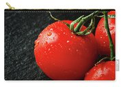 Tomatoes Close Up On Black Slate Carry-all Pouch