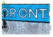 Toronto In The Rain Poster In Blue Carry-all Pouch