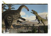 Torvosaurus And Apatosaurus Dinosaurs Fighting - 3d Render Carry-all Pouch
