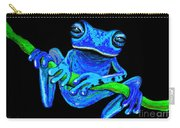 Totally Blue Frog On A Vine Carry-all Pouch