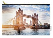 Tower Bridge In London, The Uk At Sunset. Drawbridge Opening Carry-all Pouch