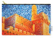 Tower Of David At Night Jerusalem Original Palette Knife Painting Carry-all Pouch
