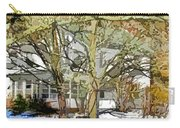 Traditional American Home In Winter Carry-all Pouch by Lanjee Chee
