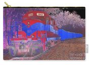 Train On Railroad Tracks - Abstract In Blue And Red Carry-all Pouch