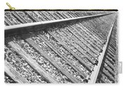 Train Tracks Triangular In Black And White Carry-all Pouch
