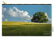 Tranquil Solitude Billowing Clouds Oak Tree Field Art Carry-all Pouch