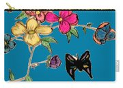 Transparent Flowers And Butterflies In Color Carry-all Pouch