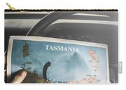 Travelling Tourist With Map Of Tasmania Carry-all Pouch