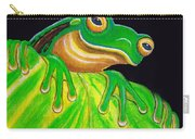 Tree Frog On A Leaf With Lady Bug Carry-all Pouch