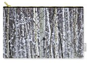 Tree Trunks Covered With Snow In Winter Carry-all Pouch by Elena Elisseeva