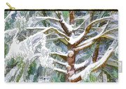 Tree With White Fluffy Snow Carry-all Pouch