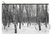 Trees In Winter Snow, Black And White Carry-all Pouch
