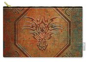 Tribal Dragon Head In Octagon With Dragon Chinese Characters Distressed Finish Carry-all Pouch
