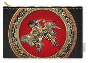 Tribute To Hokusai - Shoki Riding Lion  Carry-all Pouch
