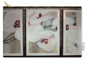 Triptic White Orchids On Light Background Carry-all Pouch