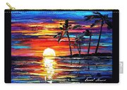 Tropical Fiesta - Palette Knife Oil Painting On Canvas By Leonid Afremov Carry-all Pouch