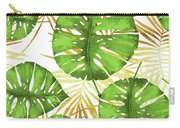 Tropical Haze Green Monstera Leaves And Golden Palm Fronds Carry-all Pouch