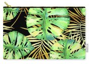 Tropical Haze Noir Variegated Monstera Leaves, Golden Palm Fronds On Black Carry-all Pouch