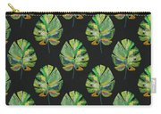 Tropical Leaves On Black- Art By Linda Woods Carry-all Pouch by Linda Woods