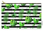 Tropical Leaves Pattern In Watercolor Style With Stripes Carry-all Pouch