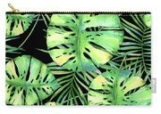 Tropics Noir, Tropical Monstera And Palm Leaves At Night Carry-all Pouch