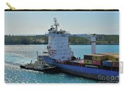 Tugboat Helping Container Ship Out Of Harbor Carry-all Pouch
