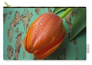 Tulip On Old Green Table Carry-all Pouch