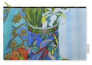 Tulips And Iris In A Japanese Vase, With Fruit And Textiles Carry-all Pouch