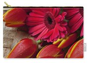 Tulips And Red Daisies  Carry-all Pouch
