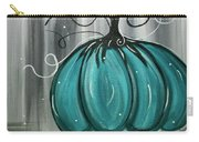 Turquoise Teal Surreal Pumpkin Carry-all Pouch