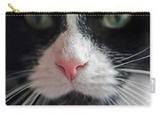 Tuxedo Cat Whiskers And Pink Nose Carry-all Pouch