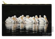 Twelve White Pelicans On A Dark Background. Carry-all Pouch