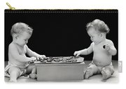 Twin Babies Playing Checkers, C.1930-40s Carry-all Pouch