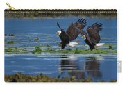 Two American Bald Eagle Touching Down At Low Tide Carry-all Pouch
