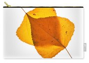 Two Backlit Cottonwood Leaves In Autumn On White Carry-all Pouch