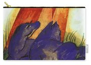 Two Blue Horses In Front Of A Red Roc 1913 Carry-all Pouch